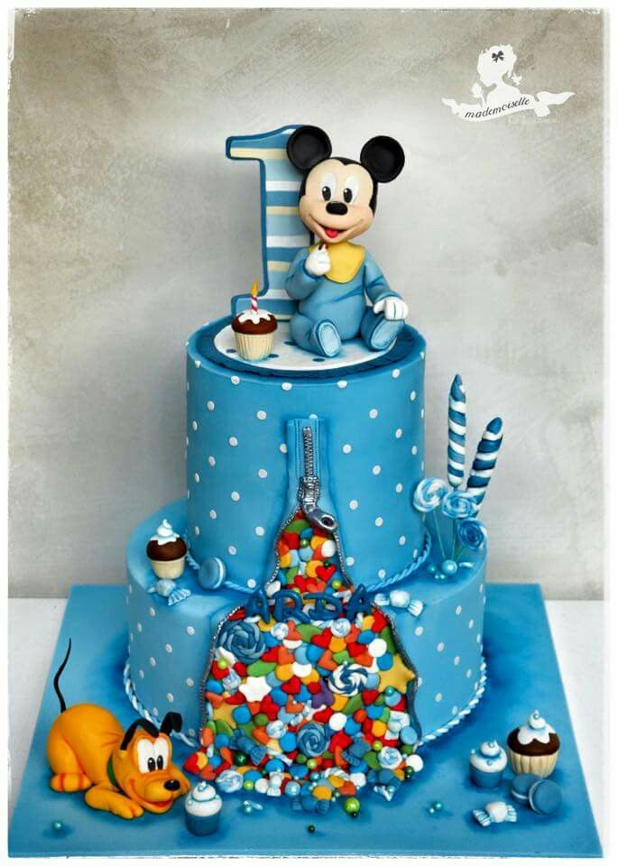 Surprising Baby Mickey Cake With Images Baby Mickey Mouse Cake Baby Personalised Birthday Cards Sponlily Jamesorg