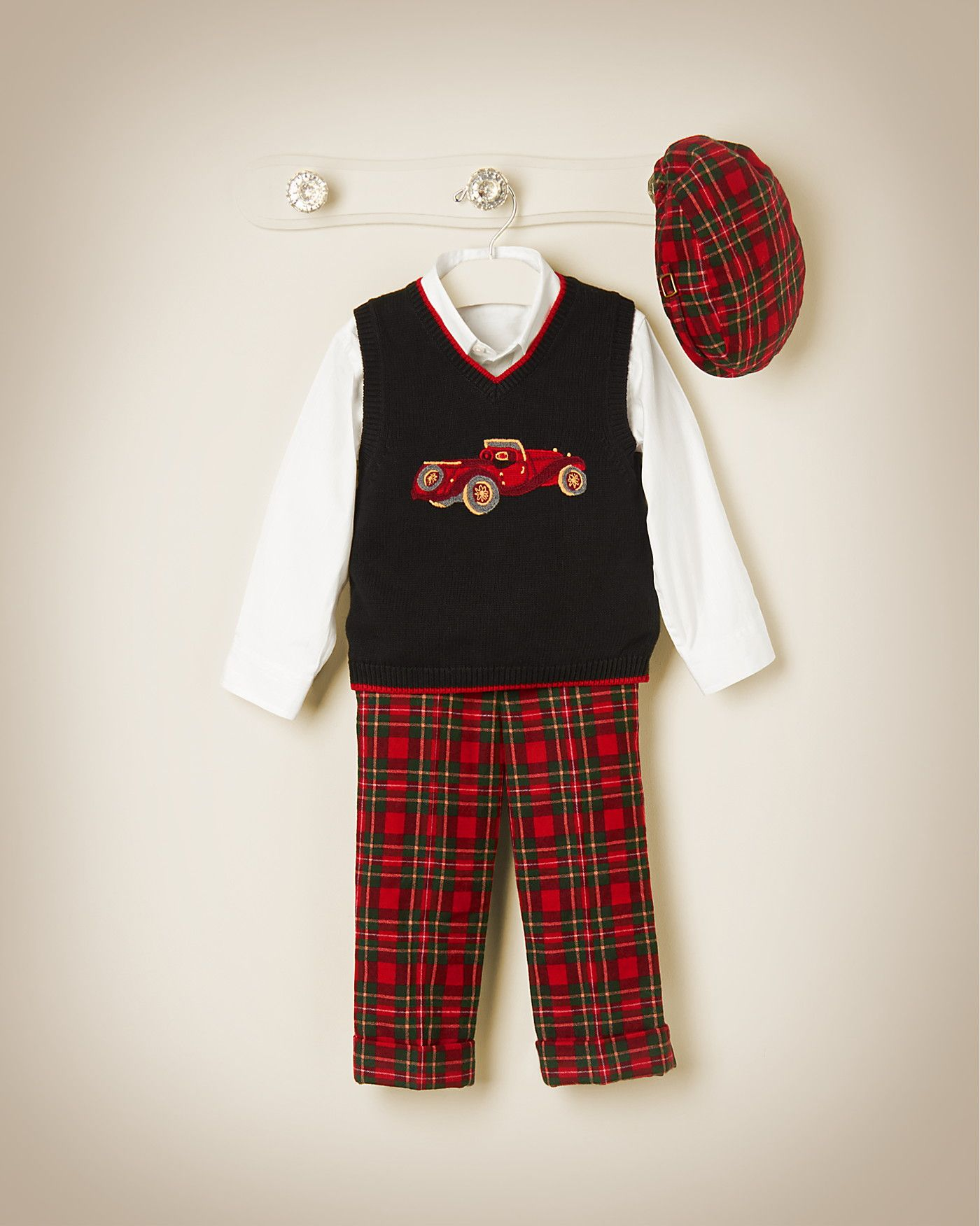 Vintage Car Sweater Vest pairs perfectly with our Tartan Plaid Wool Trouser.