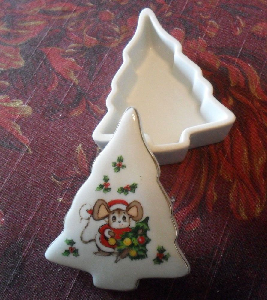 Lefton China 00747 Christmas Mouse Trinket Box Stocking Stuffer Gift  #LEFTON