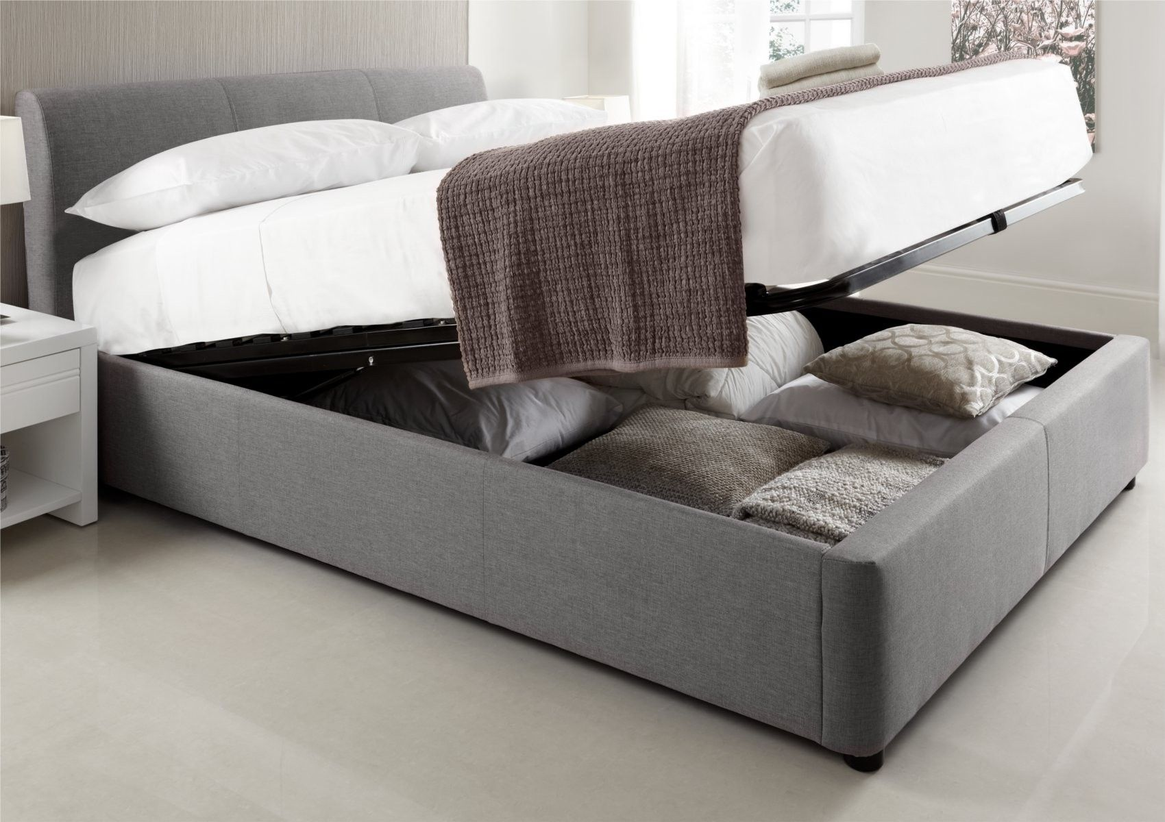 Serenity upholstered ottoman storage bed grey king for Upholstered king bed with storage