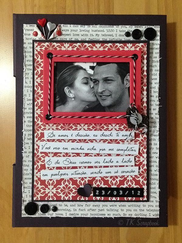 Caderno com encadernação longstitch romântico (visão geral da decoração) #tkscrapbook