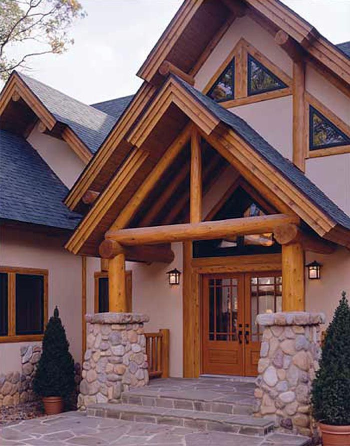 Hudson secondfloor white cedar logs and exterior for Stone and cedar homes