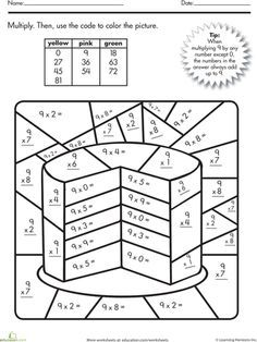 math worksheet : multiplication color by number cake  number cakes  : Fraction Coloring Sheets