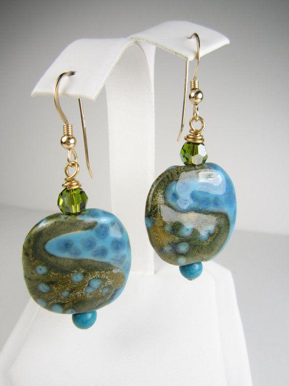 African Kazuri Bead Earrings, 14k Gold Filled, Khaki Green ...