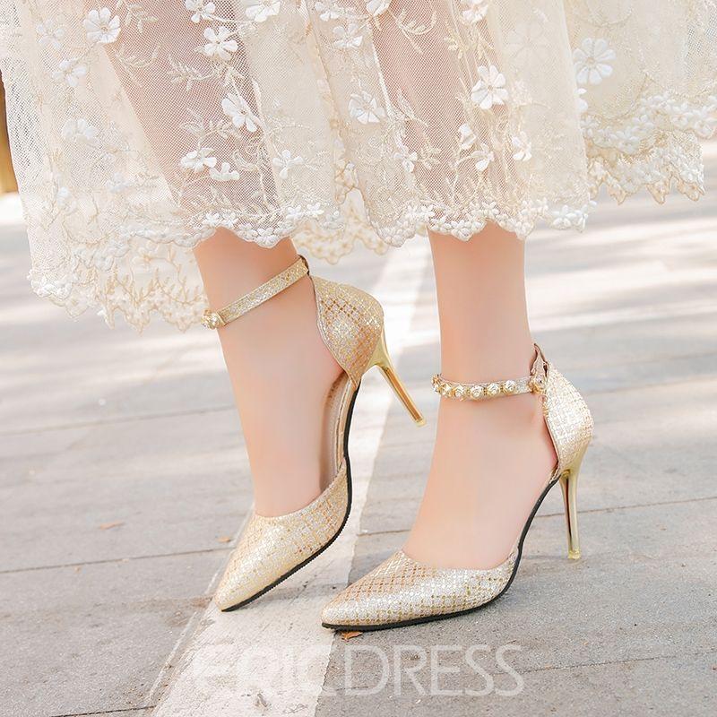 afdbd596835 Ericdress Chic Rhinestone Pointed Toe Plain Stiletto Heel Pumps ...