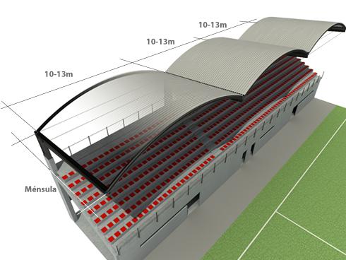 Sistema de cubrici n de gradas deportivas con cubierta for Diseno de gradas