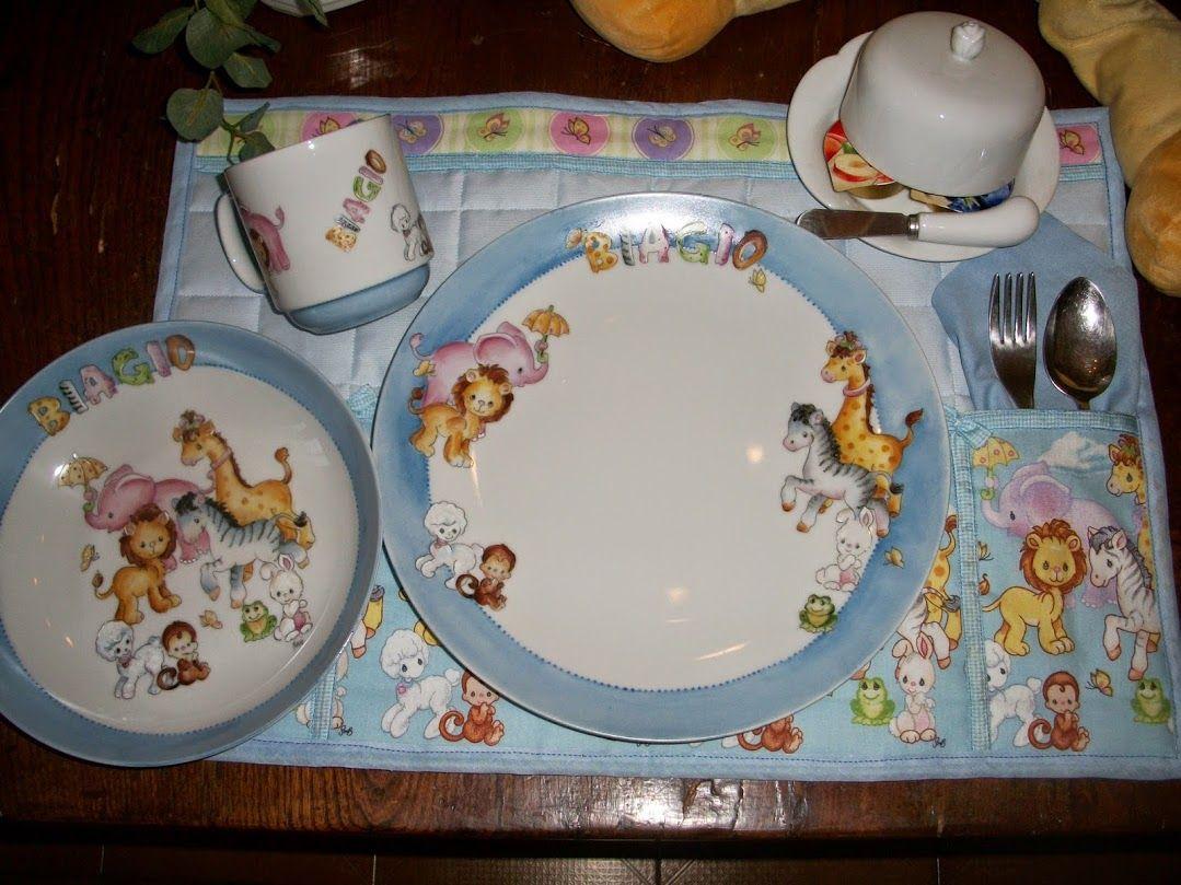 Piatti In Ceramica Per Bambini.Porcellane Per Bambini Dipinte A Mano Servizi Pappa E