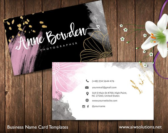 Gold And Pink Business Cards Name Card Template Cute Etsy In 2021 Business Cards Creative Name Cards Business Card Template Design