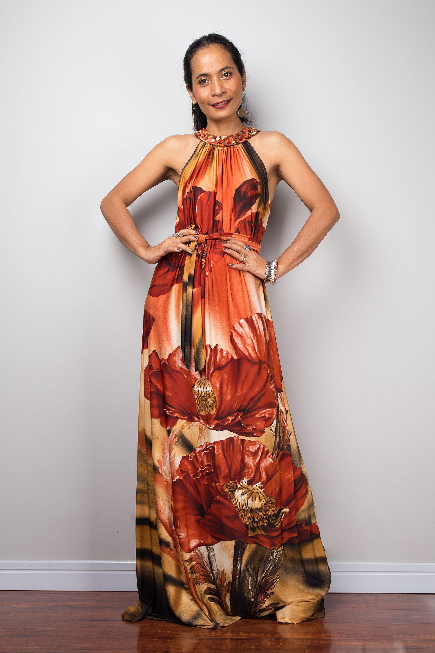 e0f82d5930e8c Boho Halter Floral Maxi Dress   Long tube cocktail dress in 2019 ...