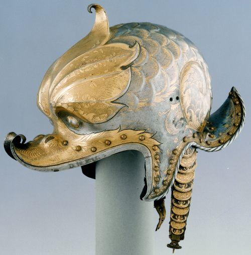 Kolman Helmschmid, Helmet (Burgonet) of Emperor Charles V, c. 1530.  Patrimonio Nacional, Real Armería, Madrid