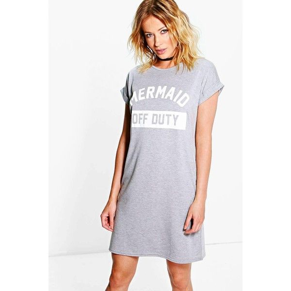 70d72a31094f Boohoo Faye Mermaid Off Duty T-Shirt Dress ($20) ❤ liked on Polyvore  featuring dresses, grey, t shirt bodycon dress, holiday dresses, tee shirt  dress, ...