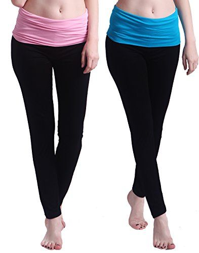 6bc41351f5499 HDE 2Pack Womens Maternity Yoga Stretch Pants Fit Flare Foldover ...