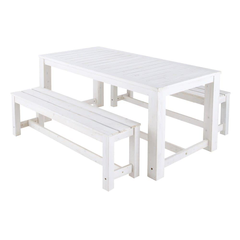 Gartentisch 2 Banke Aus Holz B 180 Cm Weiss Garden Table