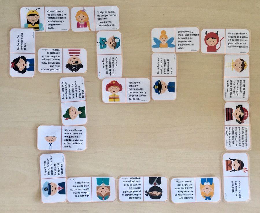 Adivina De Qué Voy Disfrazado 18 Fichitas De Dominó Con Adivinanzas Sobre Profesion Juegos De Adivinanzas Juegos Interactivos Para Niños Comprensión Lectora