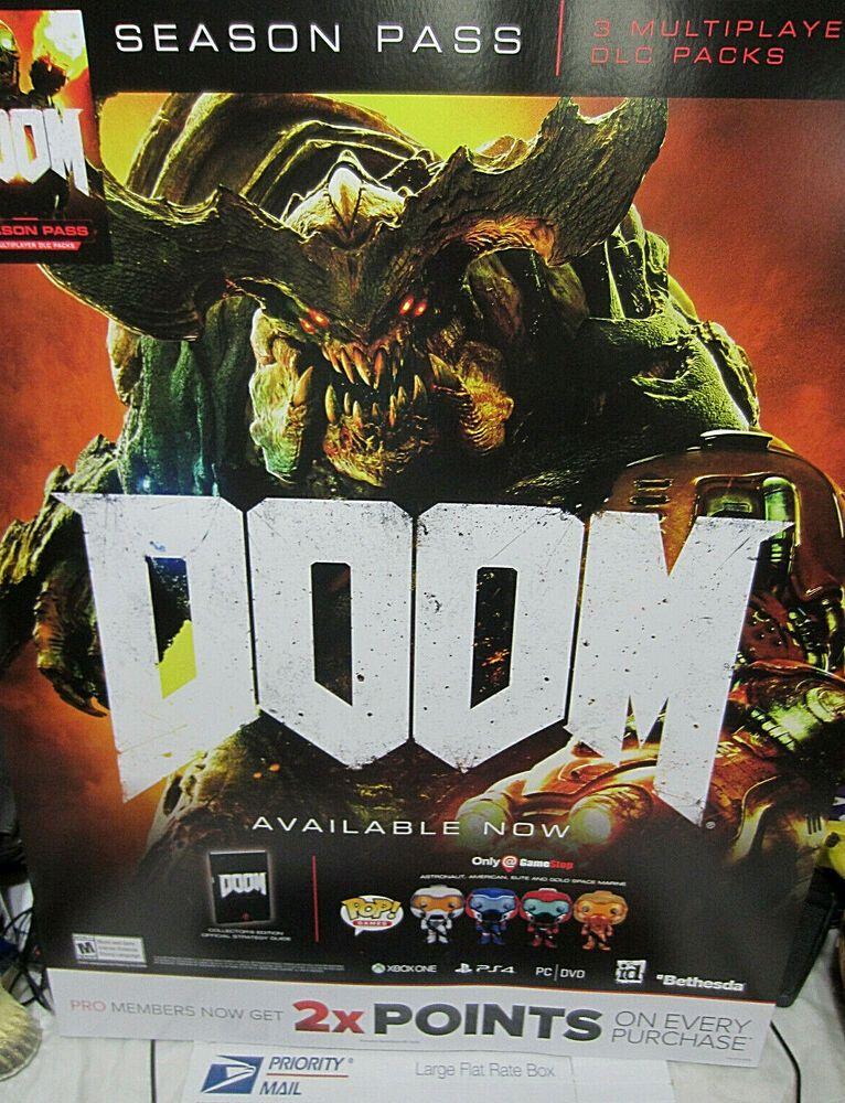 Doom Video Game Store Display Promo Poster 22 X 28 Gamestop
