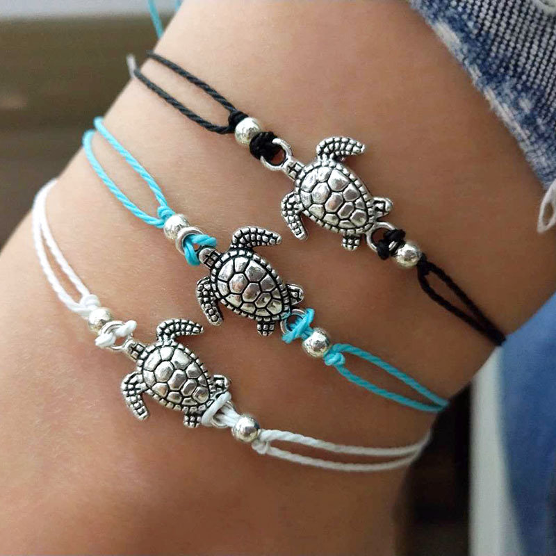 silver ankle bracelet Black Cord Adjustable Handmade