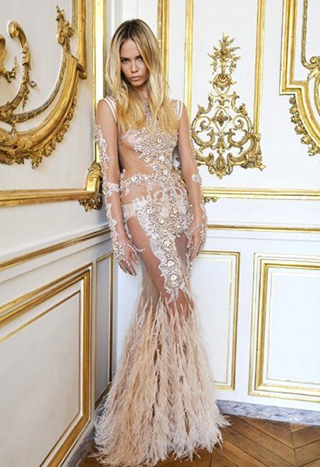 Givenchy Champagne Crystal Encrusted Sheer Dress With Feather Tail Natasha Poly