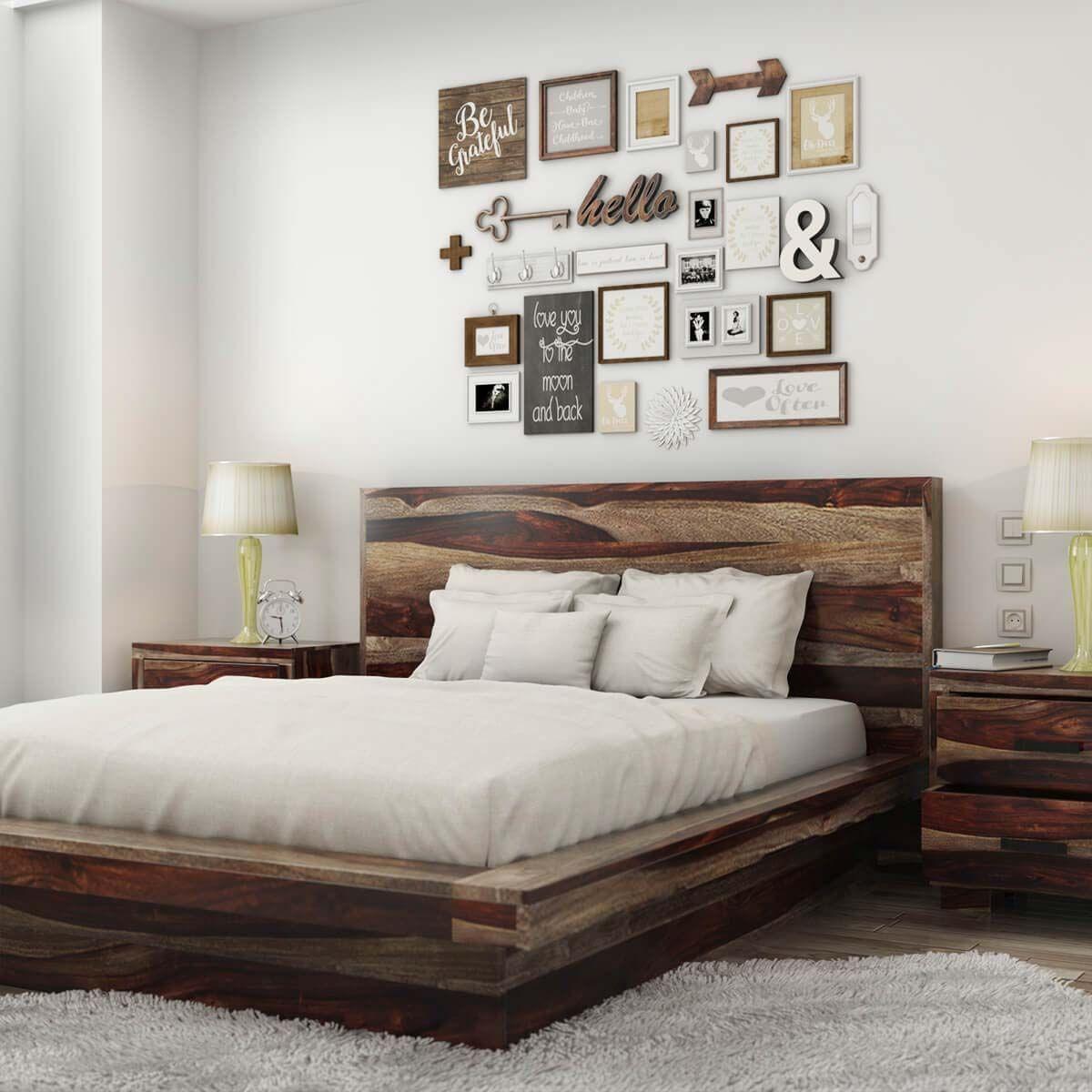 Delaware Solid Wood Platform Bed Frame: Virginia Modern Handcrafted Solid Wood Platform Bed In