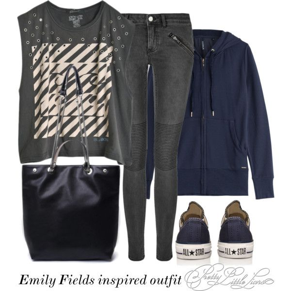Emily Fields inspired outfit/PLL by tvdsarahmichele on Polyvore featuring Woolrich, BLK DNM and Converse