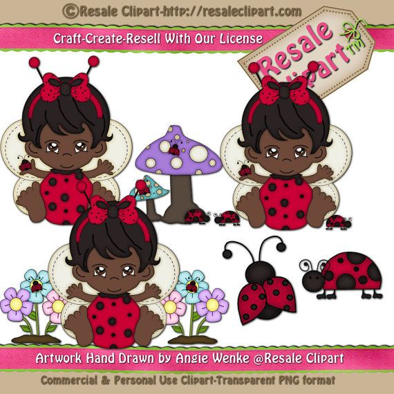 Baby Girl Lady Bug 3 Clipart Digital Download by MaddieZee on Etsy