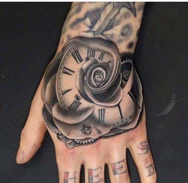 3D Rose Time Hand Tattoo For Men