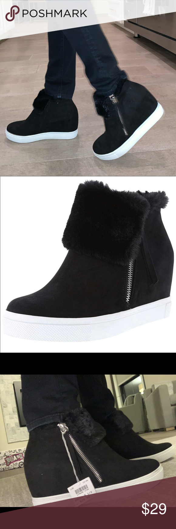 Black Suede Wedge Sneaker with Fur in