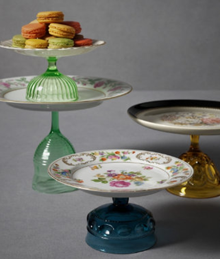 {DIY} Vintage Cake Plates...so easy to find single wine glasses at thrift