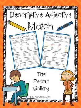 Descriptive Adjective Match Free Teacherspayteachers Com Teaching Writing Teaching Dictionary Skills