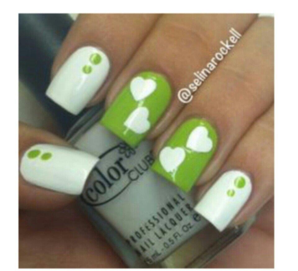 White and green nails | Nails | Pinterest
