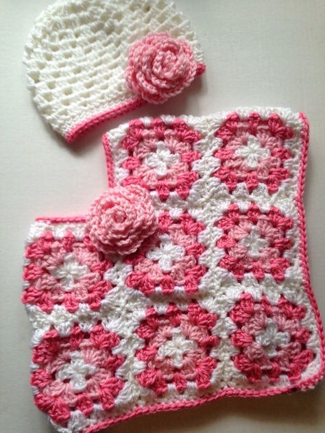 Crochet baby poncho toddlers poncho with hat granny square poncho ...