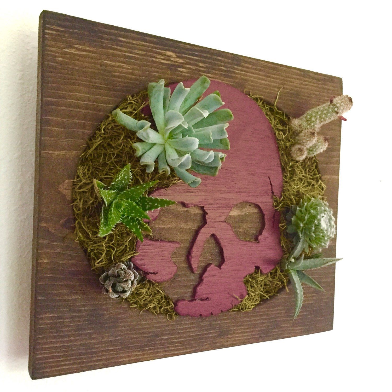 CUSTOM COLOR : Skull Shaped Succulent + Cactus Vertical Garden / Living Wall  / Wall Planter