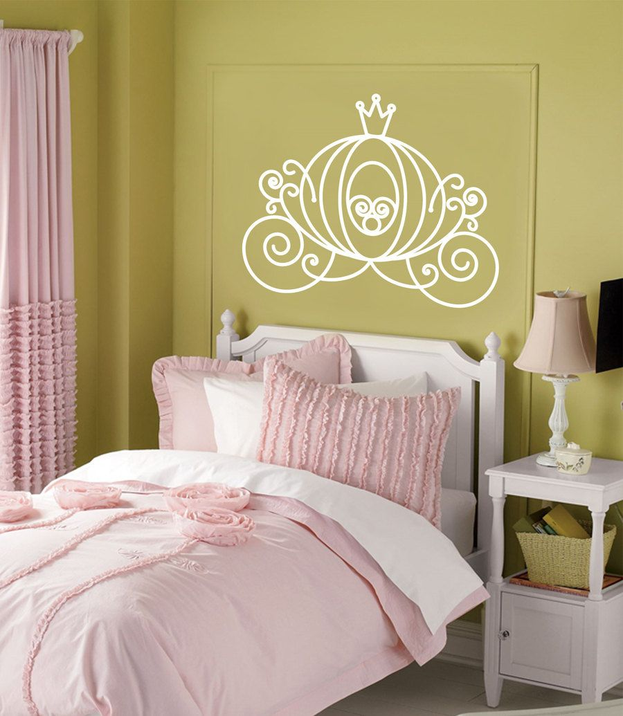 Vinyl Wall Decal CINDERELLA CARRIAGE Princess Decor Girls Room ...