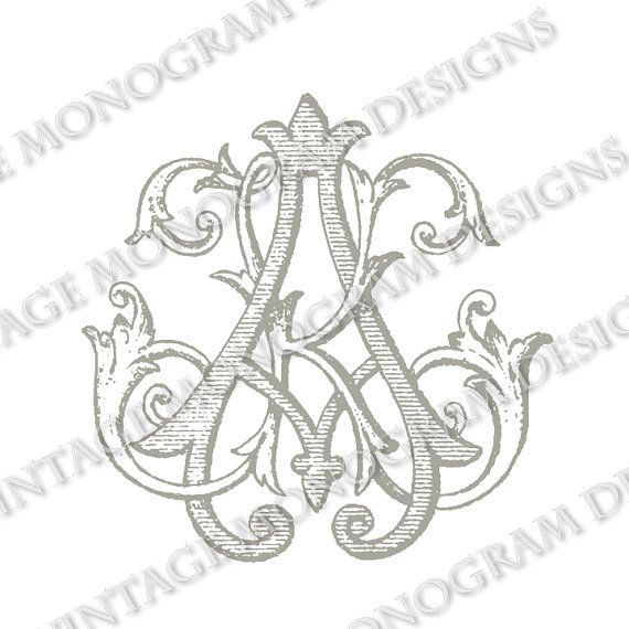 Ak monogram or ka vintage scanned from