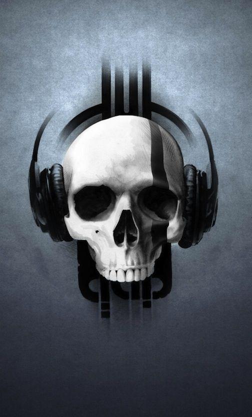 Skull With Headphones In 2019 Skull Headphones Skull