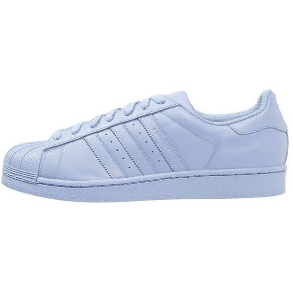 adidas Originals SUPERCOLOR SUPERSTAR Trainers clear sky (1.320 ARS) ❤ liked on Polyvore featuring shoes, sneakers, adidas, clothes - shoes, light blue, flat shoes, adidas originals trainers, leather trainers, cap toe shoes and leather sneakers