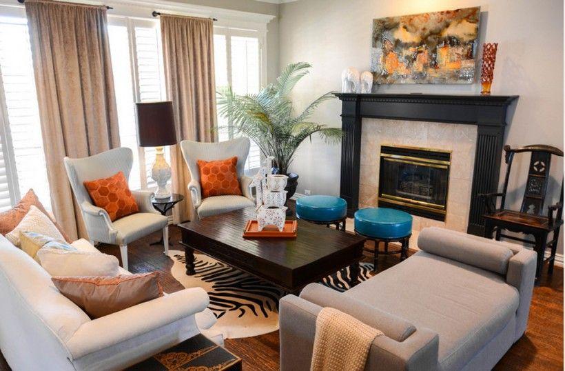 Interior  Eclectic Stacys Funky Formal Living Room Design Two Unique Wood Design Living Room Design Decoration