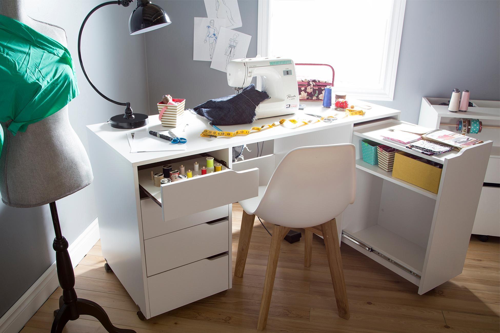 11++ South shore crea craft table with hutch white ideas