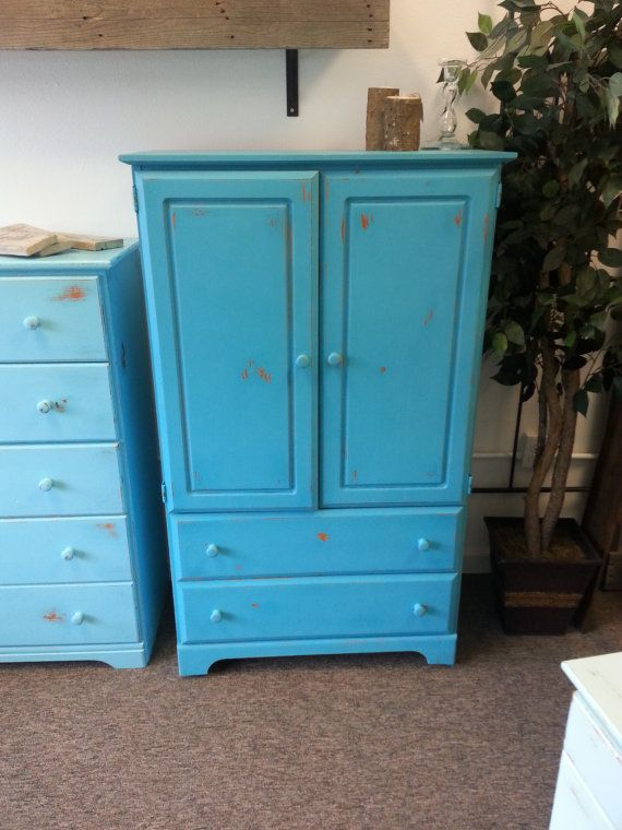 Painted Armoire, Chalk Painted And Distressed Armoire, Blue Armoire, Blue  Wardrobe, Shabby