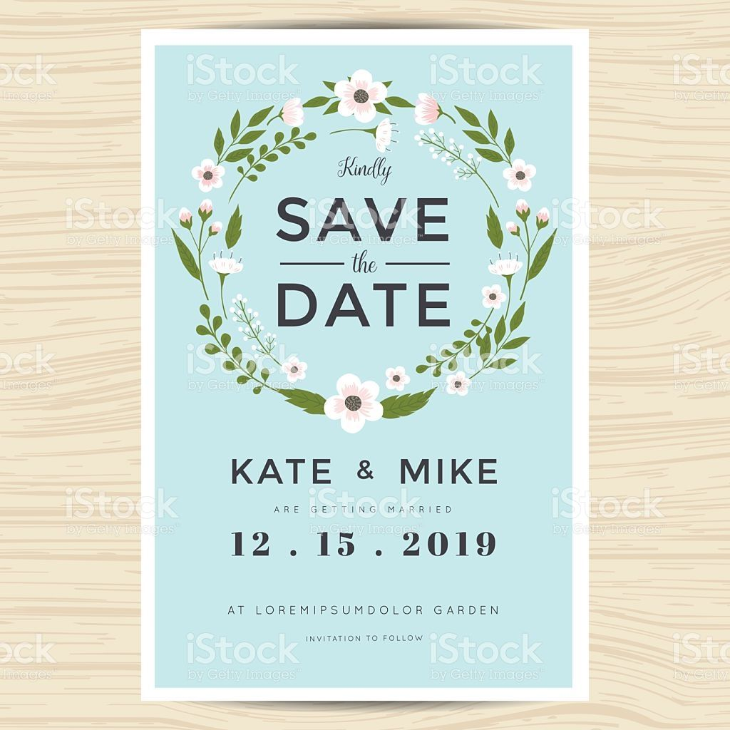 Save the date, wedding invitation card template with hand drawn ...