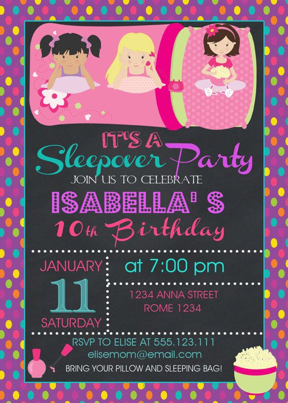 Sleepover Birthday  Invitation Pajamas Party by LovelyDesings