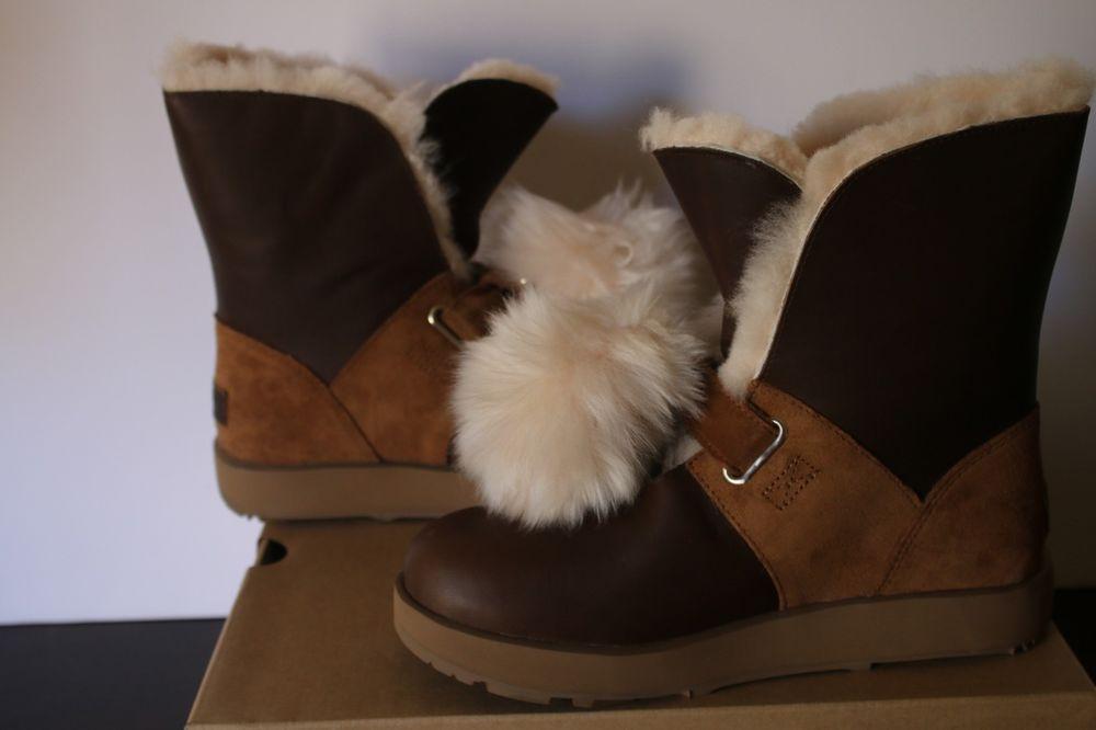 1992f6b2ebd UGG Isley Waterproof BROWN Chestnut Boots Pom Pom Leather Women's (8 ...