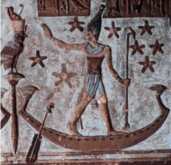 Osiris walks or surfs on his star boat of eternity. From the star ceiling at the temple of Hathor at Denderah. Photo by Wm. Henry