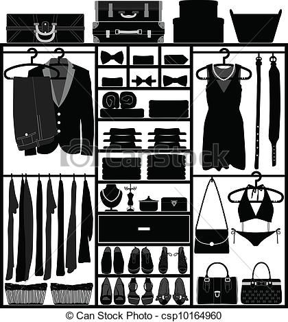 Vector Closet Wardrobe Cupboard Man Woman stock