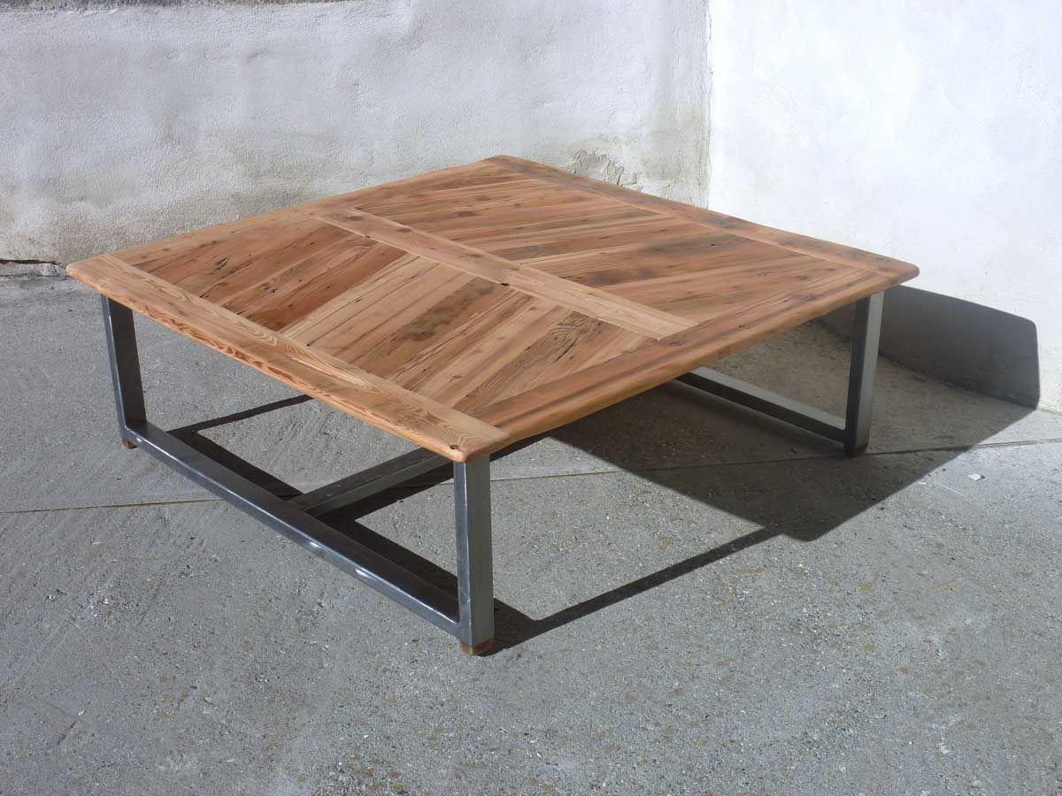 table basse en vieux bois et acier | vieux bois, table basse et acier