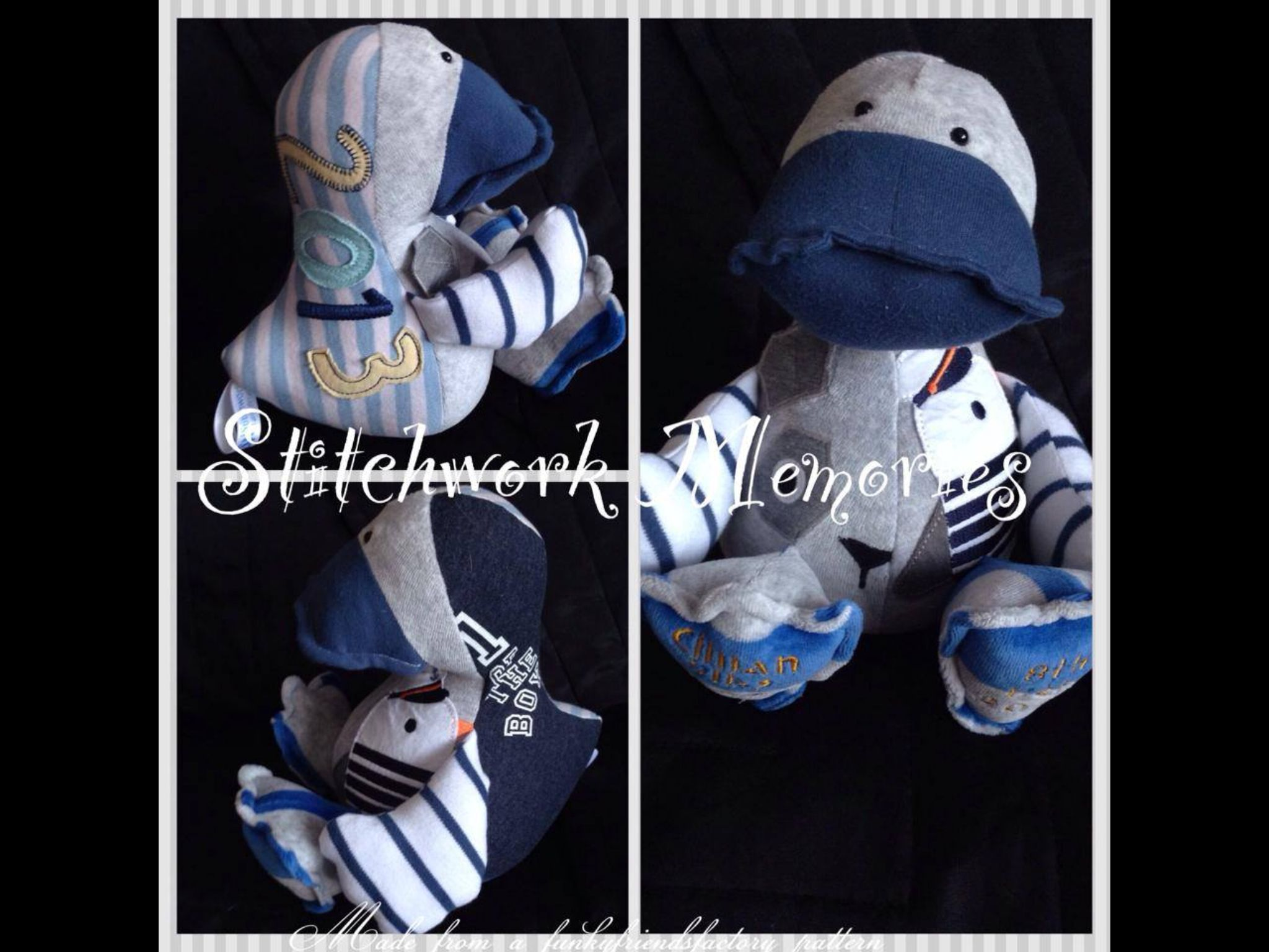 Cute #duck #keepsake made from #baby #clothes. Ducks cost £20 xx #handmade #boys #gifts #parents #stitchwork #memories