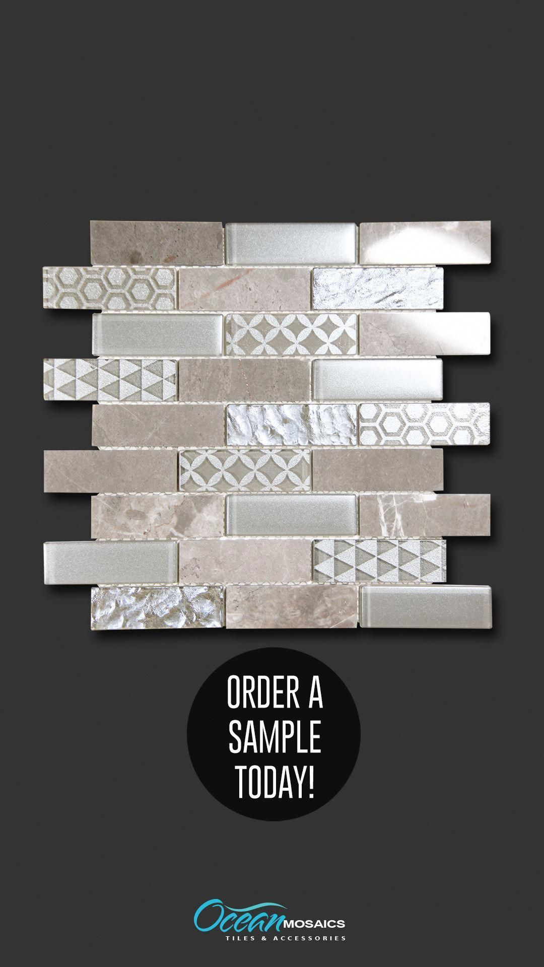 Core Silver Geometric Metallic Glass Tile Luxury And