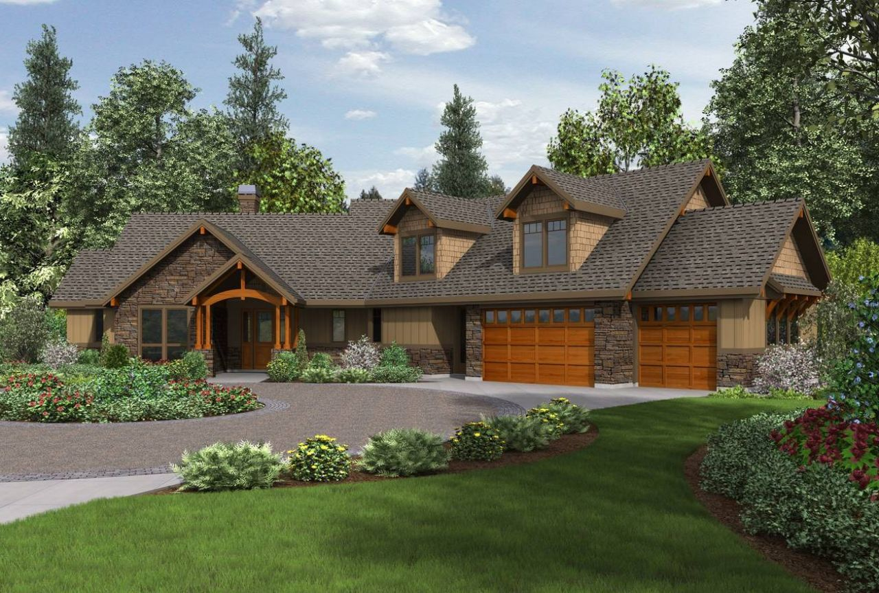 Craftsman ranch house plans with walkout basement for Rancher style home designs