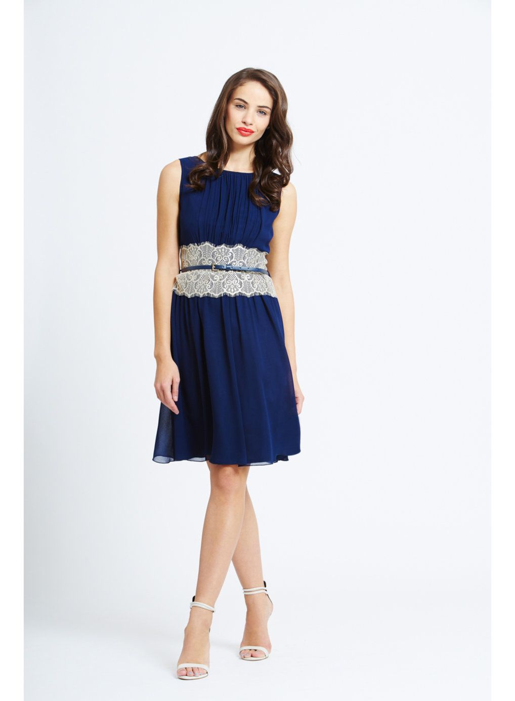 Lace dress navy  Photo  of Little Mistress Navy Chiffon Lace Dress  Dressed for the