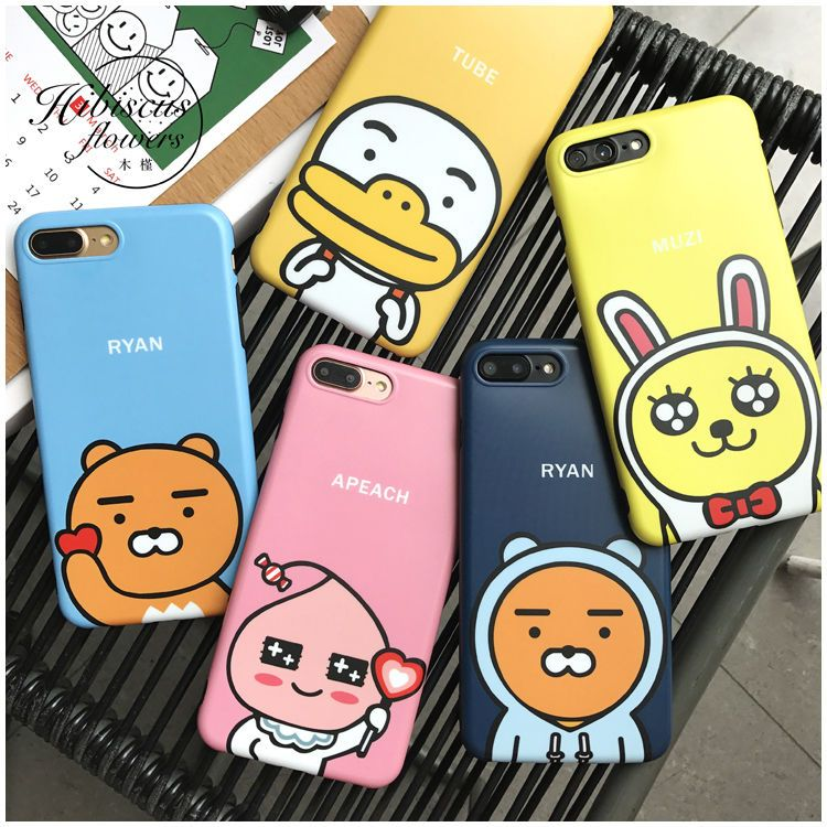 8930138f2 3D Kakao Friends Ryan Apeach Muzi Tempered Glass Soft Case For Iphone 7  7Plus 6S