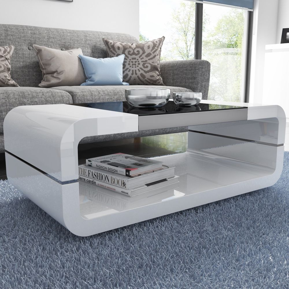 White Coffee Table Glossy Curved Black Glass Top Storage Living Room Furniture Sofa Table Design Center Table Living Room Coffee Table [ 1000 x 1000 Pixel ]